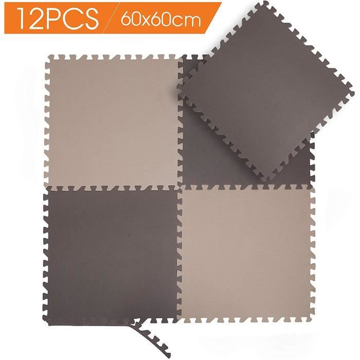 Puzzles de sol Tapis de Protection de Sol – 60cm*60cm, 12 Dalles en Mousse sans BPA + Bordures - Matelas Puzzle pour mat 319464