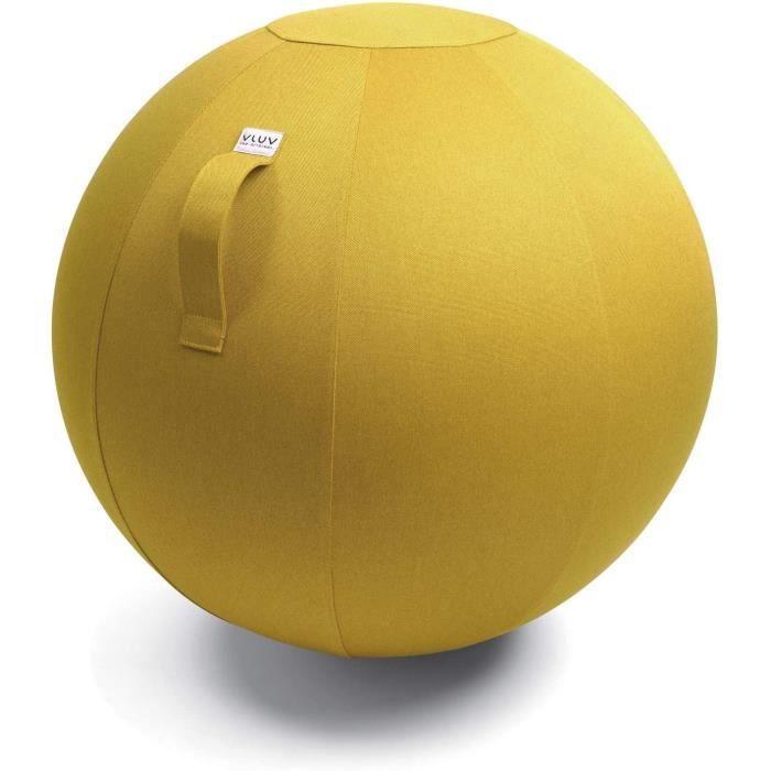 Ballon-siège LEIV, siège Ergonomique pour Le Bureau et la Maison, Couleur: Mustard (Jaune Moutarde), Ø 60cm - 65cm, Tissu d'ameuble
