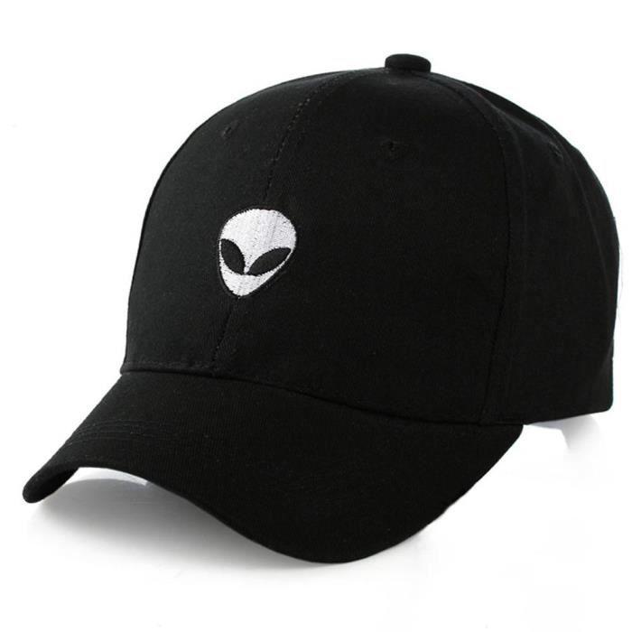 Black -Nouvelle casquette de Baseball en coton, chapeau d'extérieur ajustable avec broderie d'alien, chapeau d'amoureux