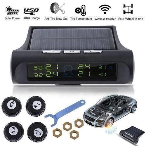 Solar Power Car Auto TPMS pneus LCD Moniteur pression Système sans fil + 4 capteurs externes