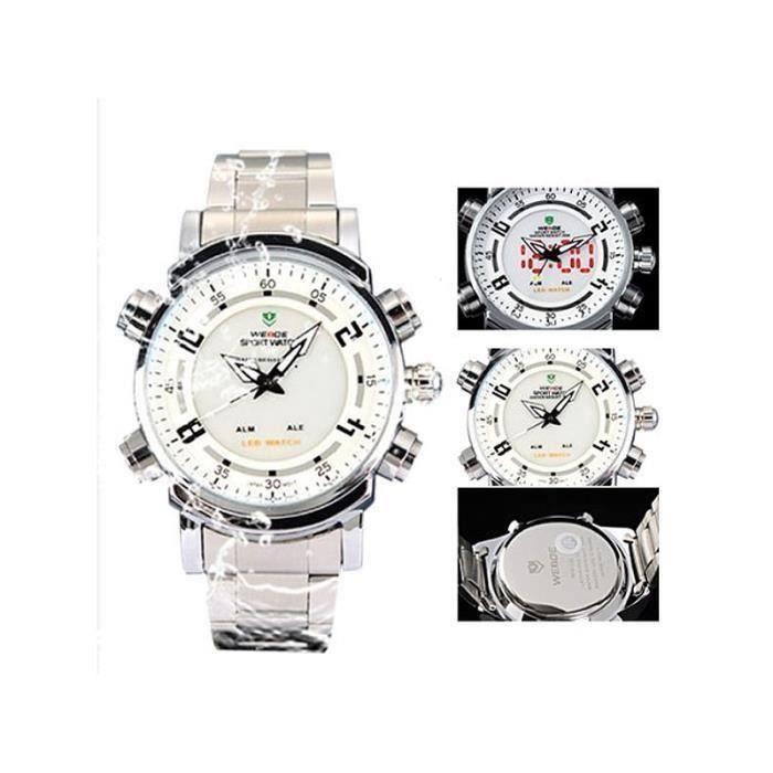 WEIDE WH-1101 imperméable à l\'eau LED Digital Analog Dual Time Display hommes en acier inoxydable bande (blanc)