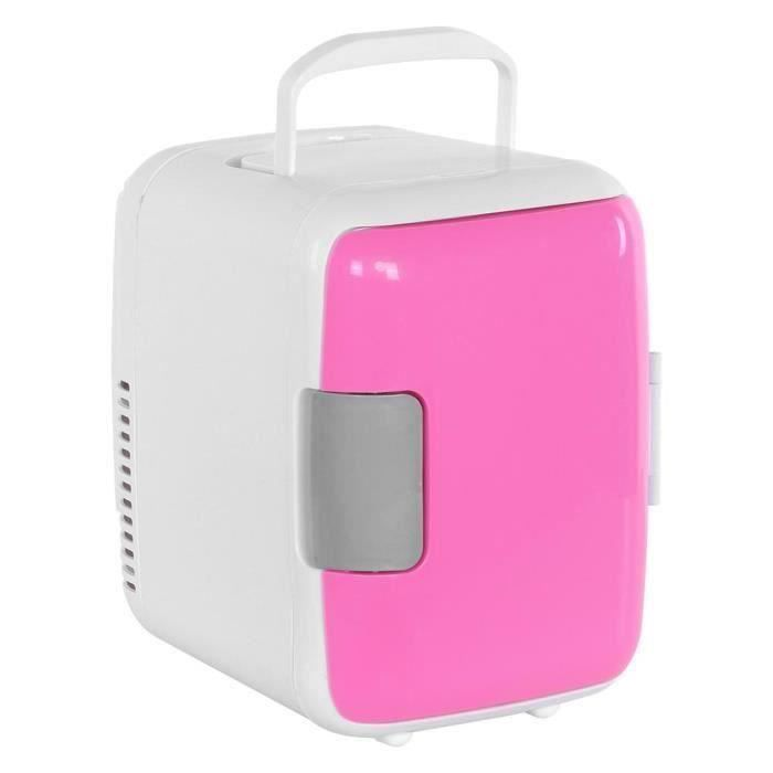 Mini-réfrigérateur - congélateur compact de 4 litres pour les voyages en voiture maisons dortoirs (Rose)-CHE