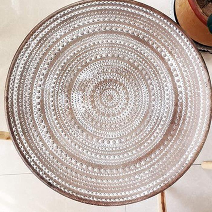 TABLE D'APPOINT - TABLE DE COMPLEMENT - GUERIDON HUIJU Table Basse Ronde Marocaine, Plantes en Pot de Style Nordique r&eacutetr389