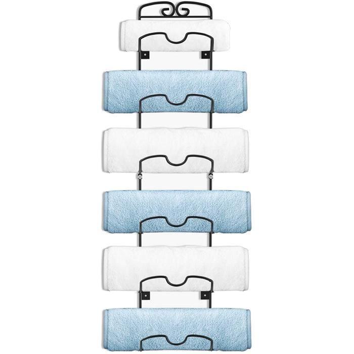 Porte-serviettes mural porte-bouteilles en métal porte-serviettes porte-serviettes avec 6 compartiments pour serviettes de bain 122