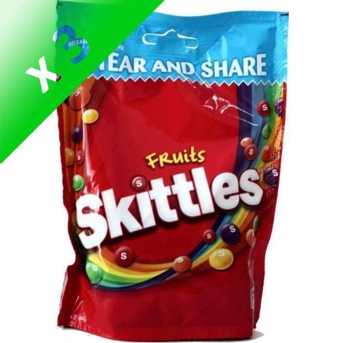 [LOT DE 3] SKITTLES Bonbons tendres dragéifiés Fruit Pouch - 350 g