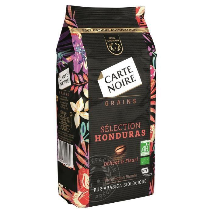 LOT DE 7 - CARTE NOIRE Café grains sélection Honduras bio - sachet de 500g