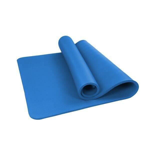 Tapis de Pilates Yoga Antidrapant avec Sangle Transport 183*61*1 cm Tapis de Fitness Gym - Bleu