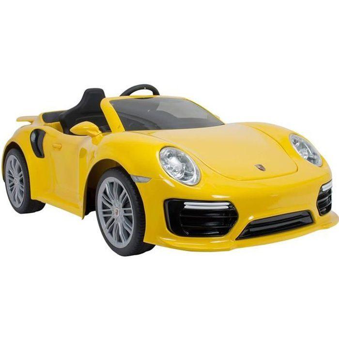 INJUSA Voiture électrique Porsche 911 Turbo S Jaune - Batterie 6V - Avec télécommande