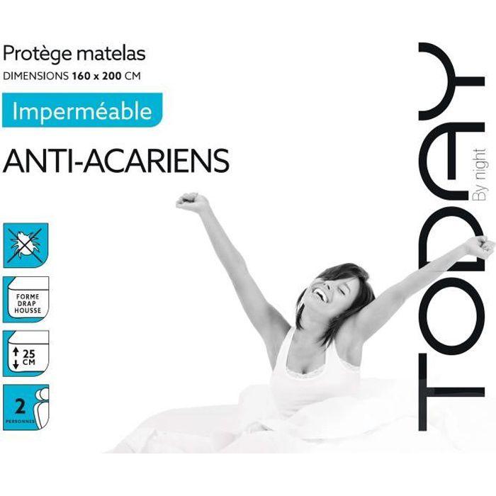 TODAY Protège Matelas / Alèse Imperméable Anti-Acariens 160x200cm - 100% Coton TODAY