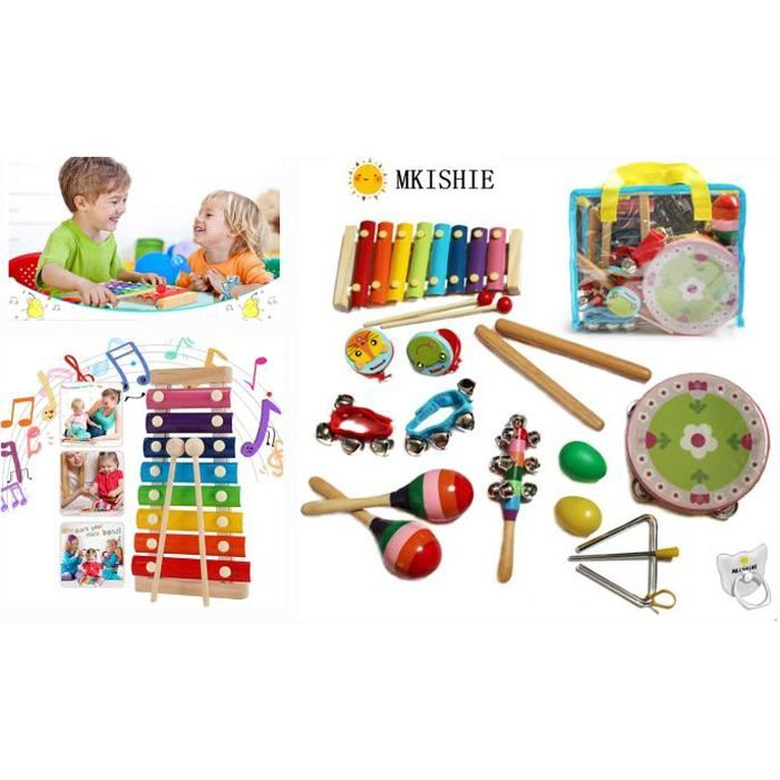 HshDUti Jouet rythmique en bois Guiro Shaker B/âton Enfants Percussion Instrument De Musique Red+Blue