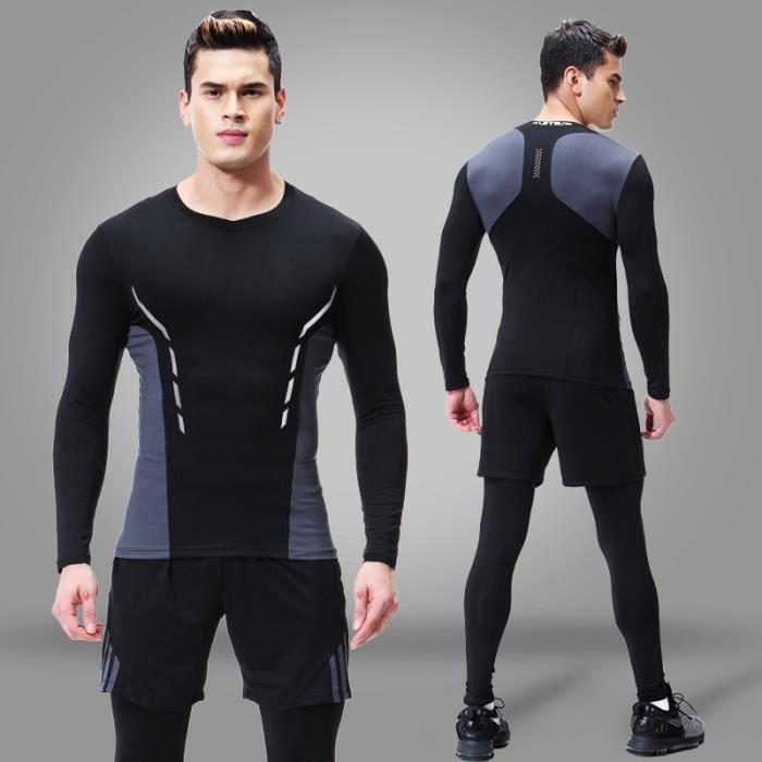 Tenue complète de compression homme 3 pièces Maillot&Short&Collant Running Fitness Respirant Jogging Séchage Rapide Haute Élasticité