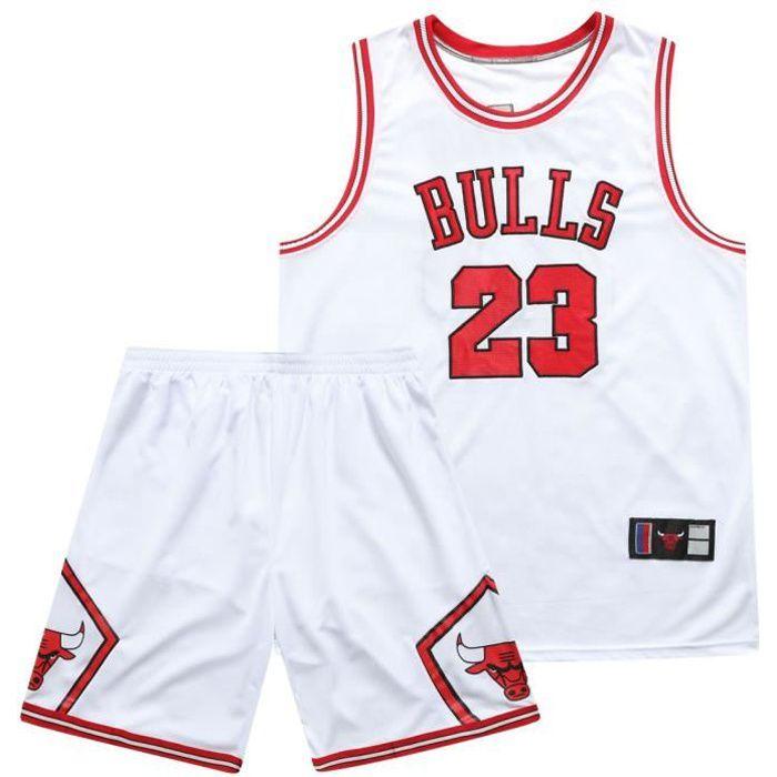 BULLS NO.23 JORDAN ENSEMBLE DE VETEMENTS DE BASKET-BALL Jersey -Adulte Maillot et Shorts de Homme-Blanc
