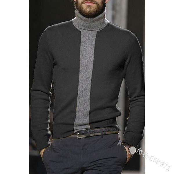 Pull homme,WEPBEL col roulé pulls chandail hommes chandails coupe étroite chemise de fond à manches longues pulls couleur unie mod