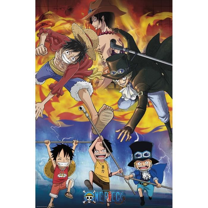 One Piece Ace Sabo Luffy Femme Poster multicolore