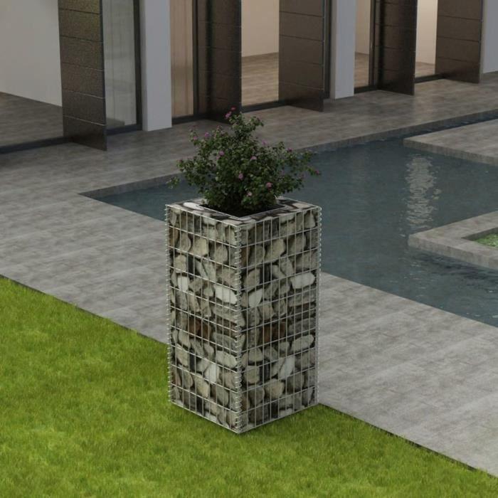 Magnifique Economique Haute qualité Luxueux Jardinière à gabion Acier 50 x 50 x 100 cm