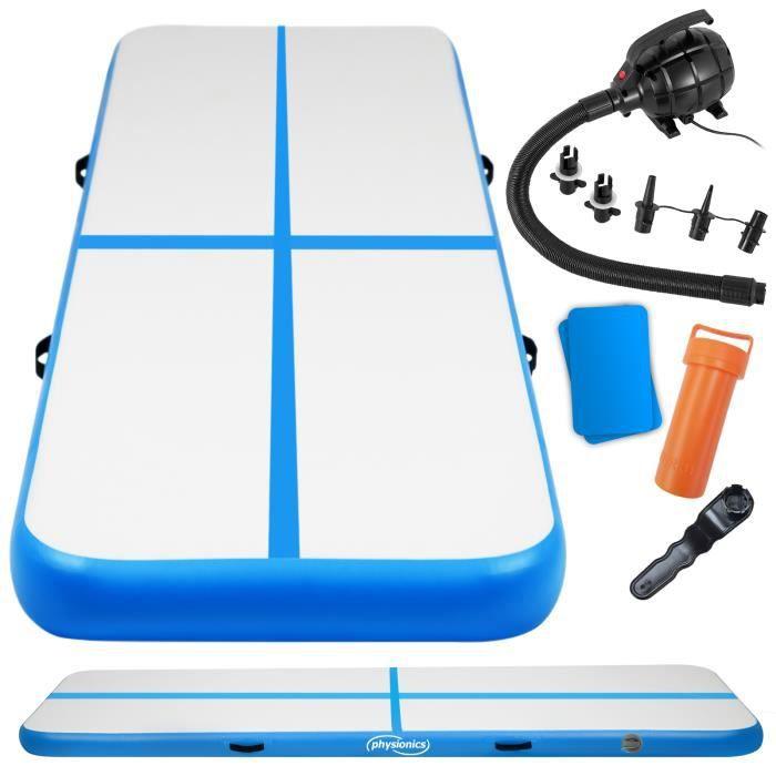 Physionics® Tapis de Gymnastique Gonflable - 800/100/10 cm, Pompe à Air, Bleu - Airtrack, Tumbling, Tapis de Sol, Piste de Yoga