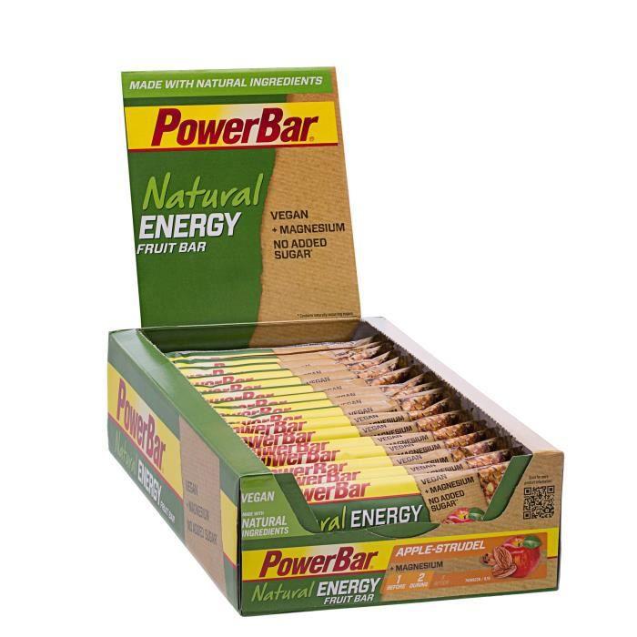 POWERBARLot de 24 barres Natural Energy Fruit et Nut - Strudel aux Pommes - 40 g