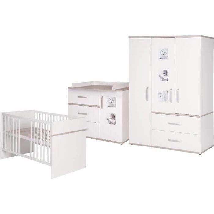ROBA Ensemble de meubles bébé -Moritz- 3 pièces, lit bébé 70x140 cm + commode à langer + armoire, Couleur blanche