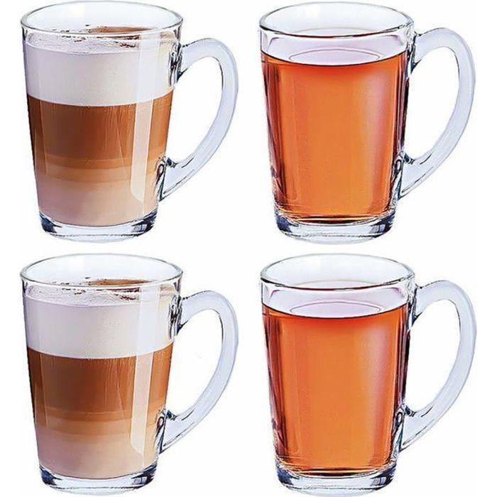 Set de 4 Grands Verres à Café et Thé en Verre - 320 ML - Tasses Café, Thé, latte macchiato, cappuccino...