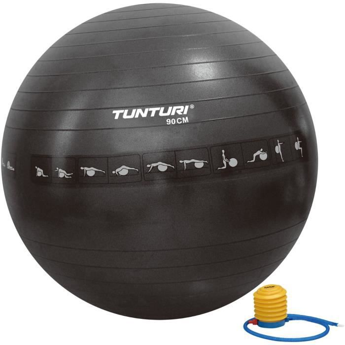 TUNTURI Gym ball ballon de gym 90cm anti éclatement noir