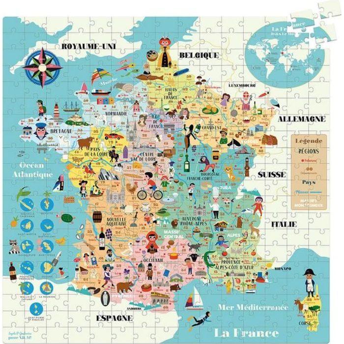 Puzzle 300 pièces : Carte de France Coloris Unique