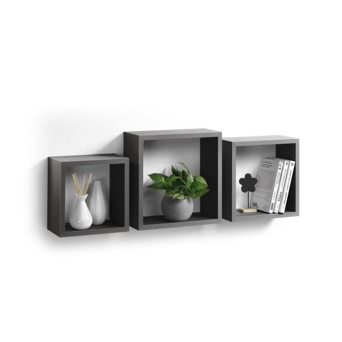 kit 3 tag res cubes gigognes gris achat vente etag re murale kit 3 tag res cubes gigogn. Black Bedroom Furniture Sets. Home Design Ideas