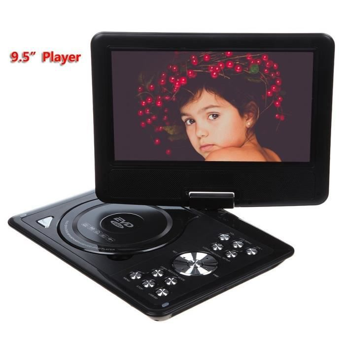 9 5 lecteur dvd portable avec cran pivotant prise en charge usb et carte sd lecture directe. Black Bedroom Furniture Sets. Home Design Ideas