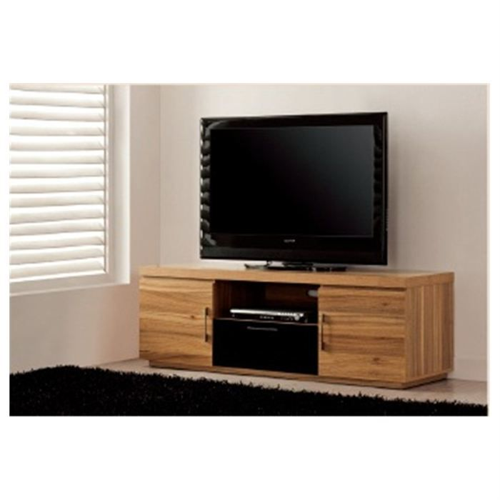 meuble tv design laquee noir et bois wengue dehlia achat. Black Bedroom Furniture Sets. Home Design Ideas