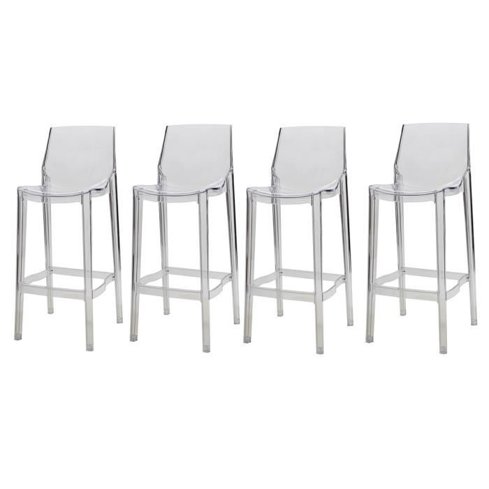 Tabouret De Bar Design Transparent Lot De 4 Ylak Achat Vente Tabouret De Bar Cdiscount