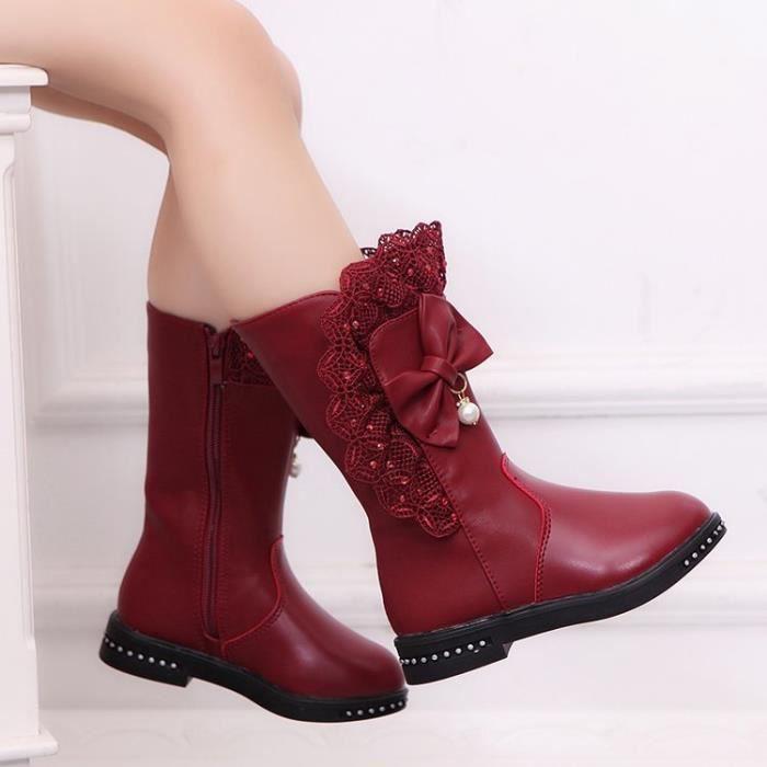 Bottes Boots Bottine Neige Hiver Princesse Automne de Enfant Chaud Fille Velours 7yYbgf6