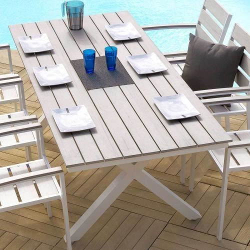 table de jardin cavalaire 200 x 90 cm bois flotte achat. Black Bedroom Furniture Sets. Home Design Ideas