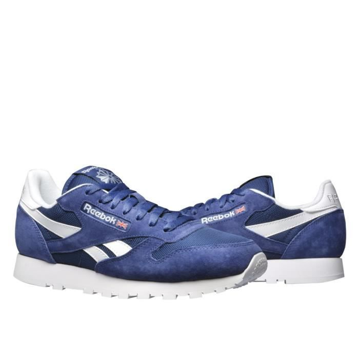 Grey CL Leather IS Nylon Reebok Class Whtlt Chaussures qpIwxRaHTI