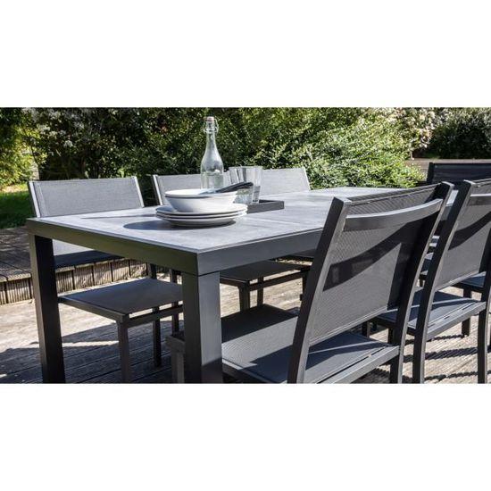 Salon de jardin aluminium et céramique 8 personnes, 1 table, 6 chaises, 2  fauteuils - ensemble de jardin 8 places