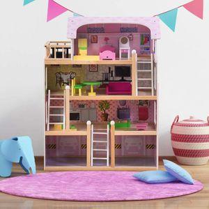 MAISON POUPÉE Maison de Barbie en Bois Villa à 4 Etages Maison d