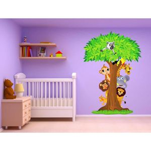 Stickers animaux de la jungle achat vente stickers animaux de la jungle pas cher cdiscount for Chambre jungle cdiscount