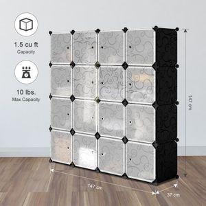 ARMOIRE DE CHAMBRE Armoire étagères - 16 cubes - Plastique - Modulabl