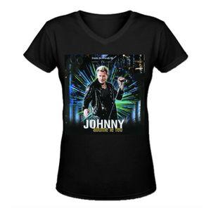 T-SHIRT johnny hallyday 3 V-cou T-Shirt-Femme 100% Coton M