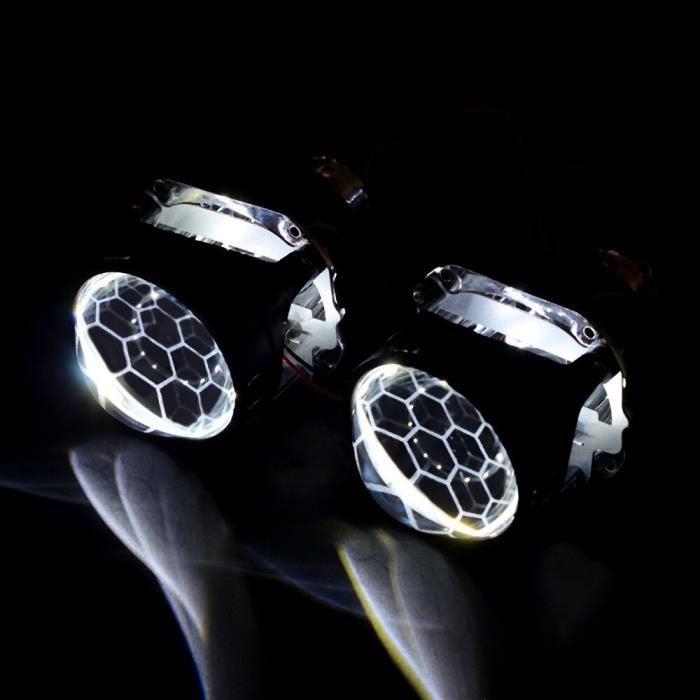 Mini-lentille de projecteur Bi xénon en nid d'abeille, revêtement bleu de 2.5 pouces, pour phare de voiture H4 h7, Kit [24136BD]