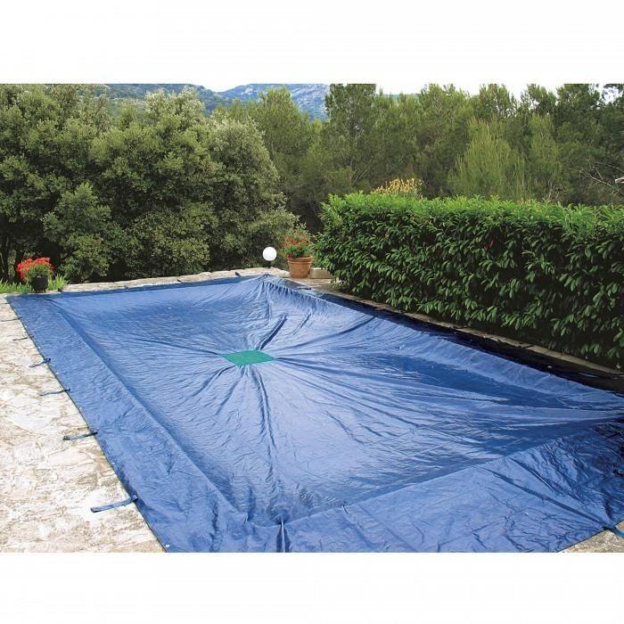 Bache 5 x 9 m pour piscine rectangulaire bache epaisse et resistante de 240 g/m².Bache piscine rectangulaire avec œille