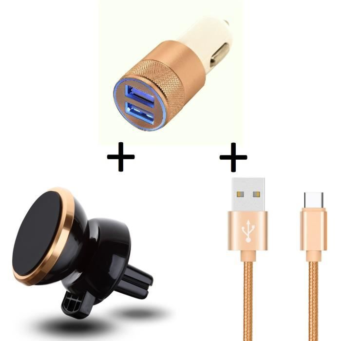 Pack Accessoires Voiture pour NUBIA Z11 mini S (Cable Chargeur Metal Type C + Double Adaptateur Allume Cigare + Support (OR)