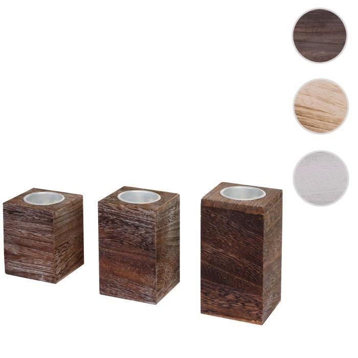3x bougeoir pour bougies à chauffe-plat Leuca, S+M+L, style shabby, vintage ~ marron