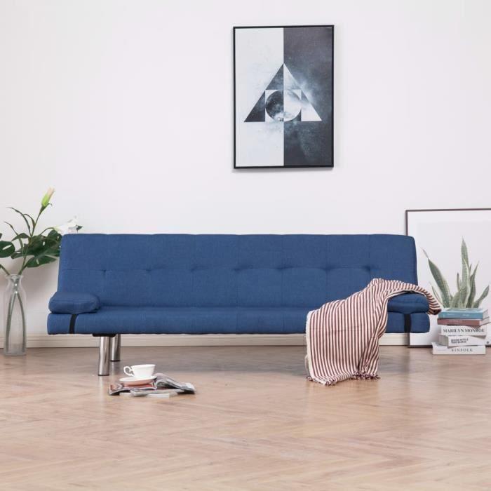 Canapé-lit Canapé convertible - Sofa Divan Canapé de salon Confortable avec deux oreillers Bleu Polyester