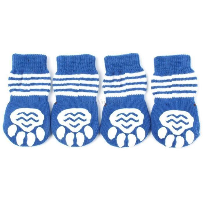 Chaussures,Chiens animaux de compagnie chaussettes antidérapantes S M L XL multi couleurs chiot chaussure chien - Type Bleu-S