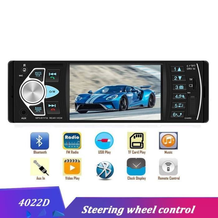 1 Din 12V Bluetooth 2.0 Autoradio Auto stéréo autoradios avec télécommande In dash FM Radios Aux SD USB MP3 - Type 4022D Car Radio