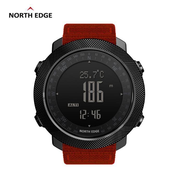 Orange Nouveau North Edge montre numérique de sport pour hommes en cours d'exécution natation altimètre baromètre boussole escalade