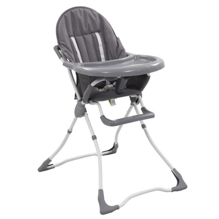 Chaise haute pliable pour bébé Gris et blanc