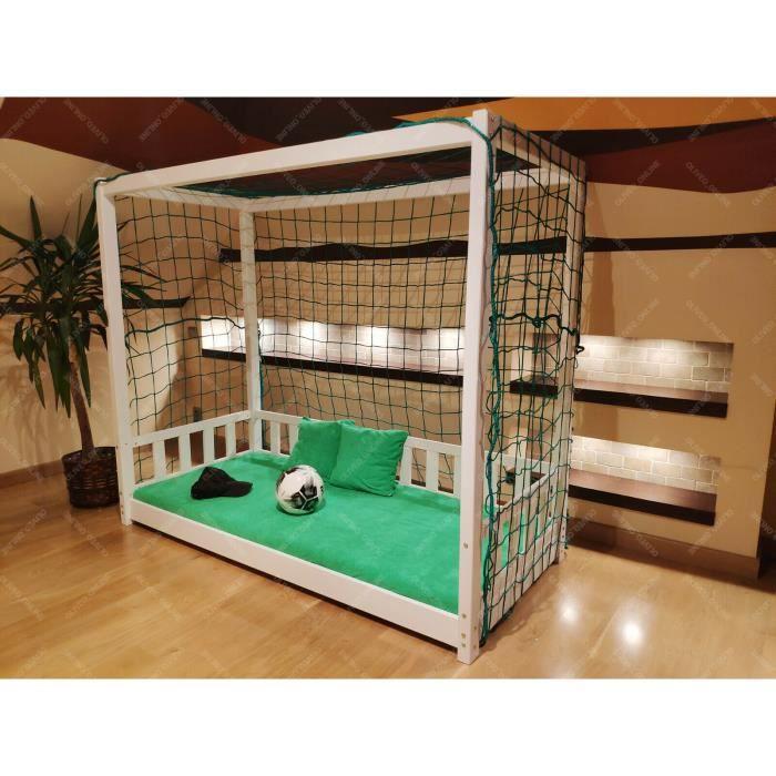 Lit Cabane Football pour enfants - 140x90cm
