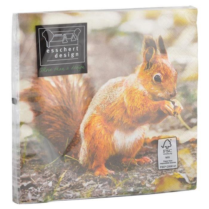 Serviette en papier de soie avec motifs (Lot de 20) Rouge gorge et écureuil 16,5 x 16,5 x 2,3 cm