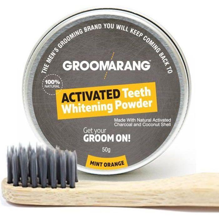 Poudre charbon blanchissante 50g + Brosse à dent bambou GROOMARANG – Solution charbon actif pour blanchissement dentaire