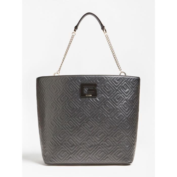 Guess - Sac cabas tendance femme en simili cuir matelassé Janay (hwqg7738230) black taille 31 cm